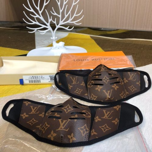 The Lux Monogram Bespoke Hand Made Mask Brown