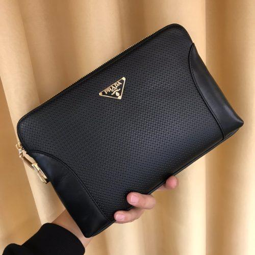 Saffiano Leather Pouch Black