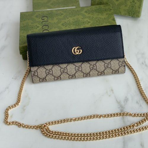 Marmont chain wallet Beige/Black